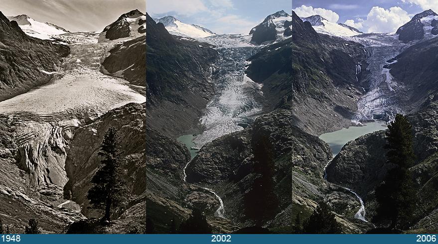 Triftgletscher In Gadmen door de jaren heen: ook deze gletsjer smelt hard