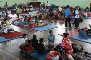 Opvang van evacueés gebied rond vulkaan Gunung Agung
