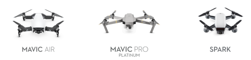 Mavic Air Comparison, Spark, Pro, DJI