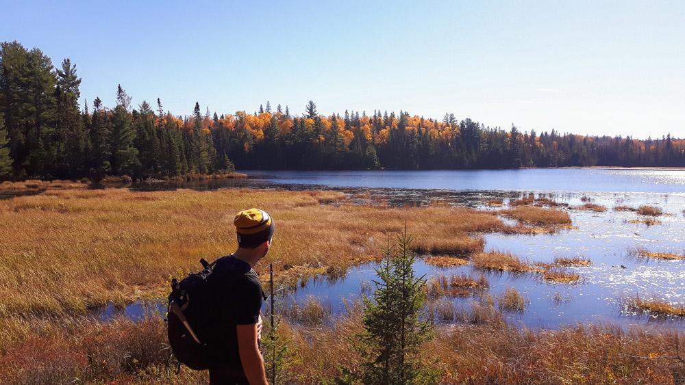 Mizzy Lake Trail Algonquin Provincial Park, meer in de zon.