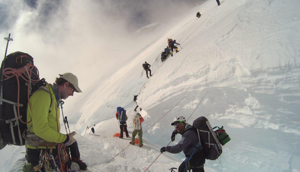 De Headwall, het stijlste stuk van de klim