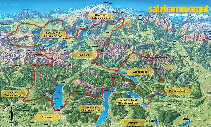 Overzichtskaart Salzkammergut BergeSeen Trail
