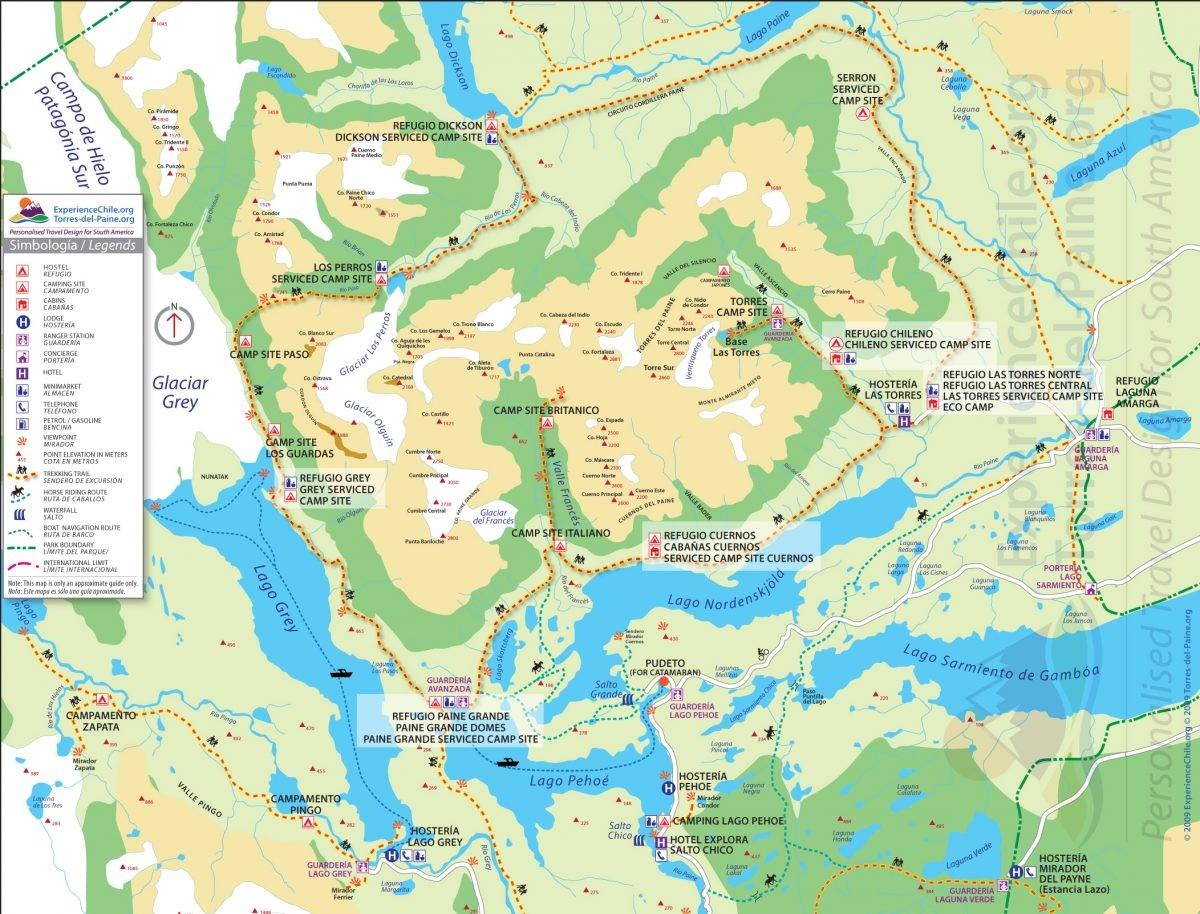 De kaart van het gebied. Zo zie je wel waarom de ene route de 'W' heet, en de andere de 'O' wordt genoemd