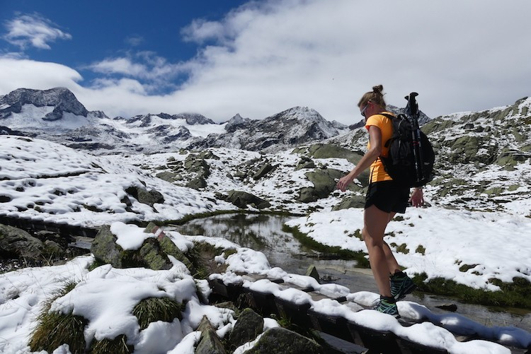 Sneeuw in Stubaier Alpen zomer 2018 Mutterbergersee