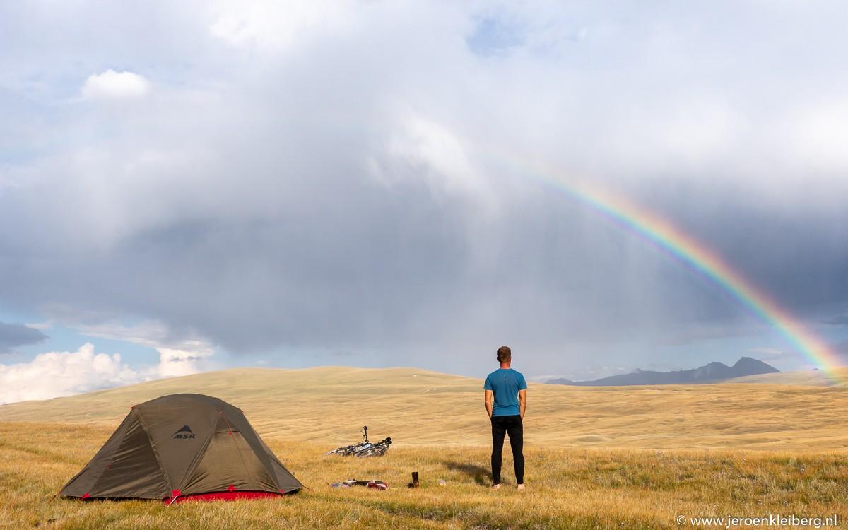 Jeroen Kleiberg aan het kamperen