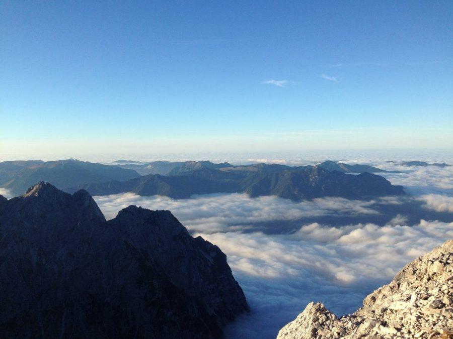 Afscheid van de Alpen boven de Alpspitze