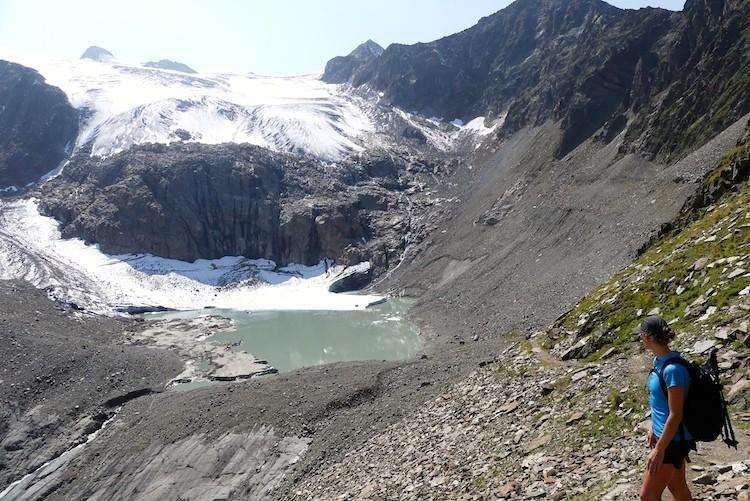 Gletsjer met meer na Blaue Lacke in Stubaital