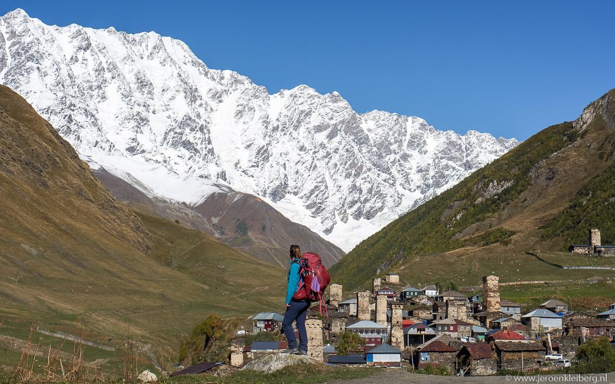 Ushguli en mount Shkhara georgie