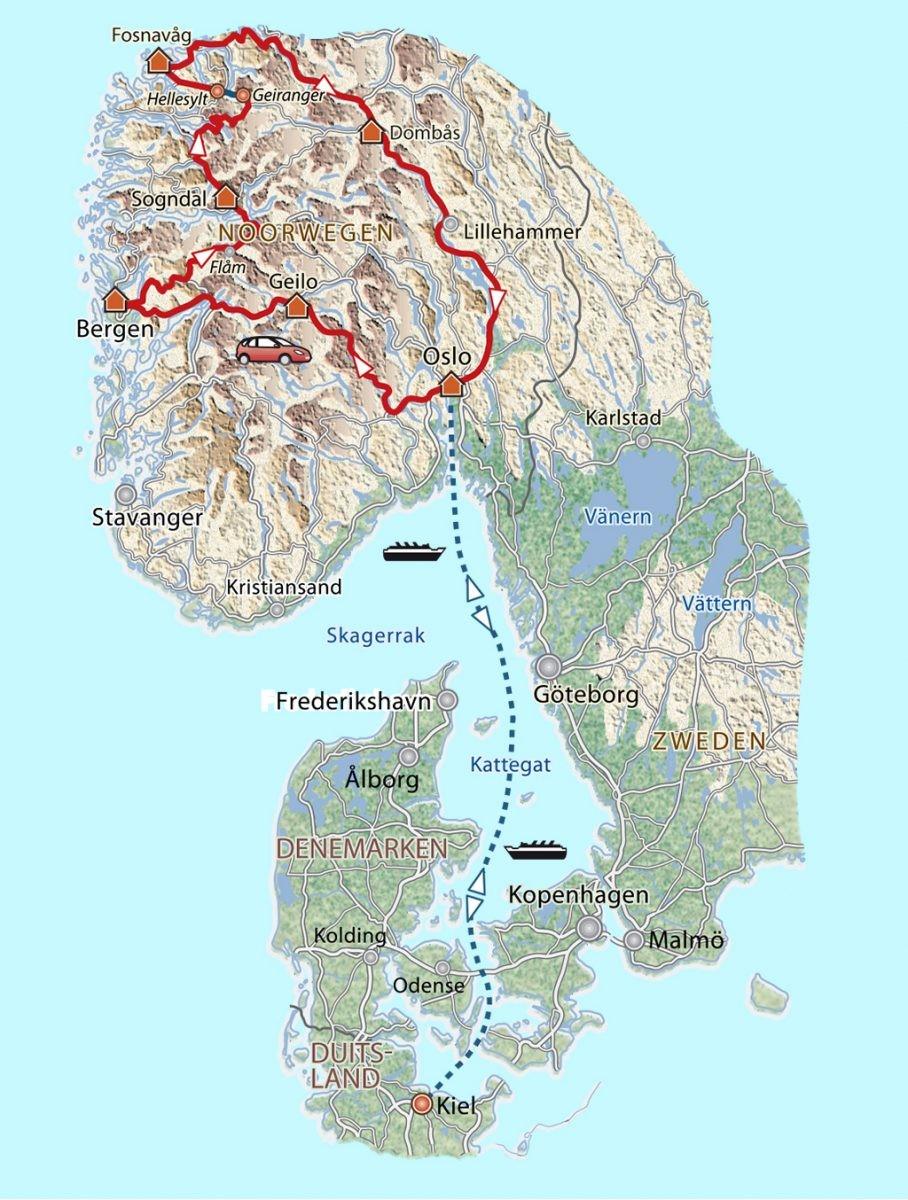 Rondreis Noorwegen. Vliegen naar Oslo en een auto huren kan ook