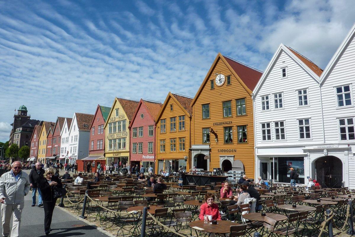 De gekleurde huizen van Bergen