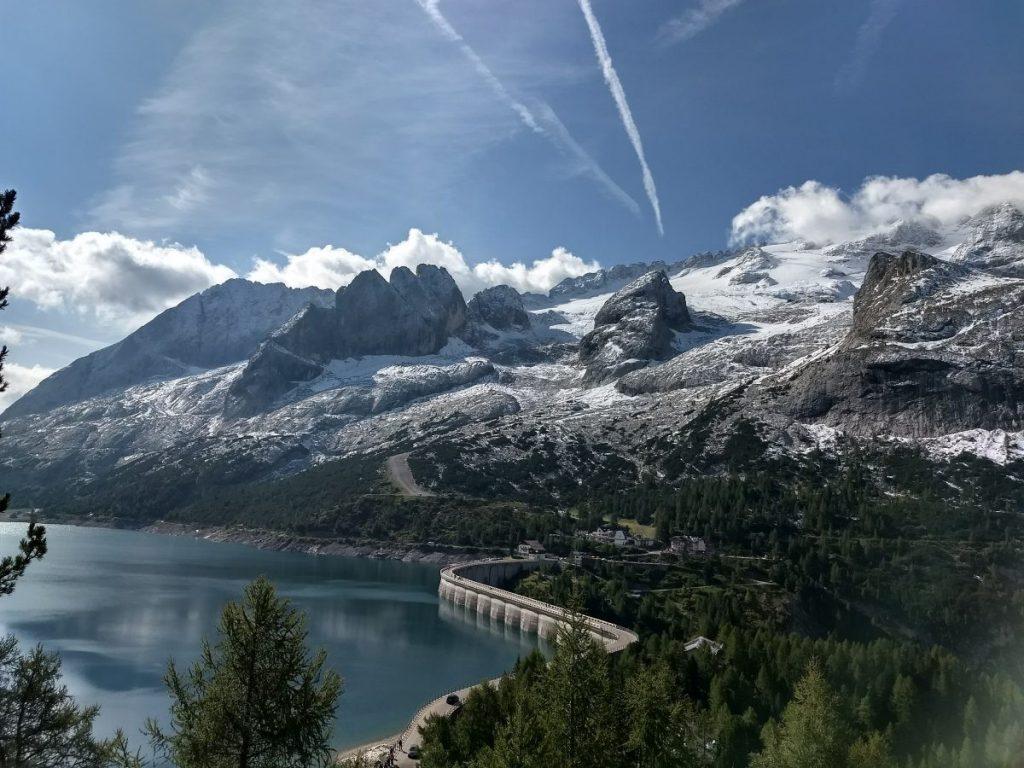 Uitzicht op Lago di Fedaia, het beginpunt van de tocht. Foto: Sietske Mensing