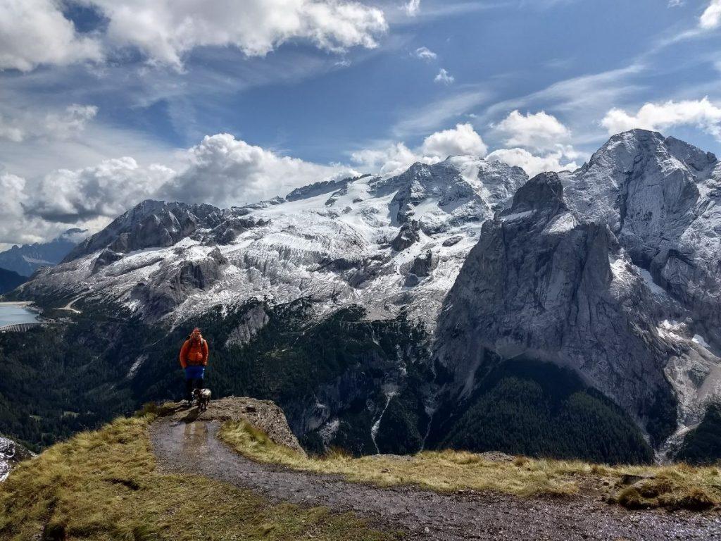 Twee berggeiten bij elkaar! In de verte Lago di Fedaia. Foto: Sietske Mensing