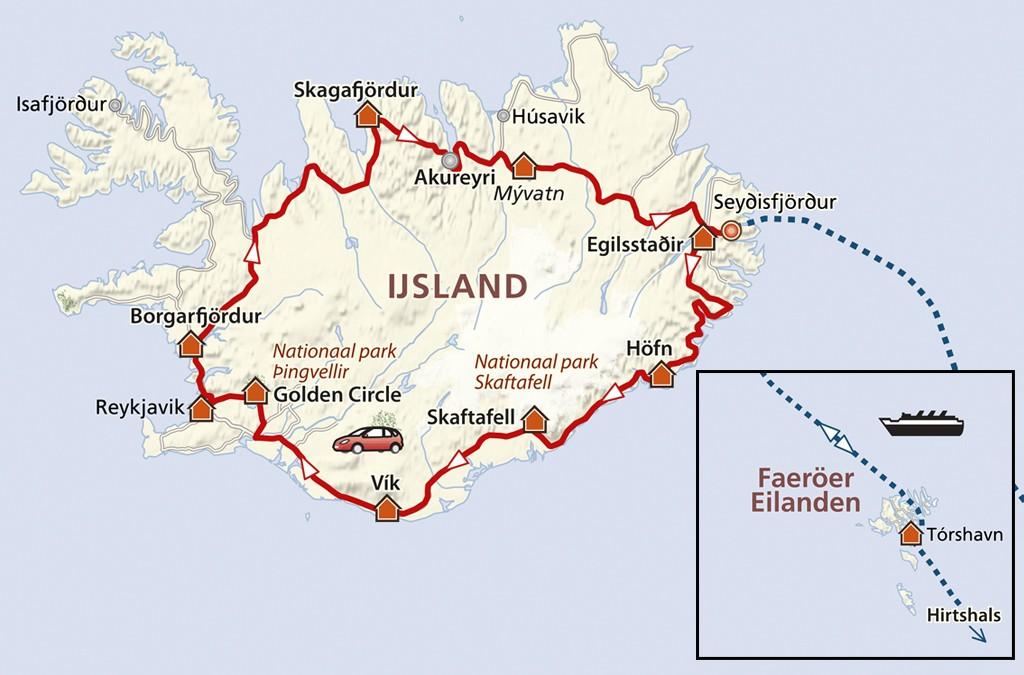 De route door IJsland, met uitstapje naar de Faeroër-eilanden
