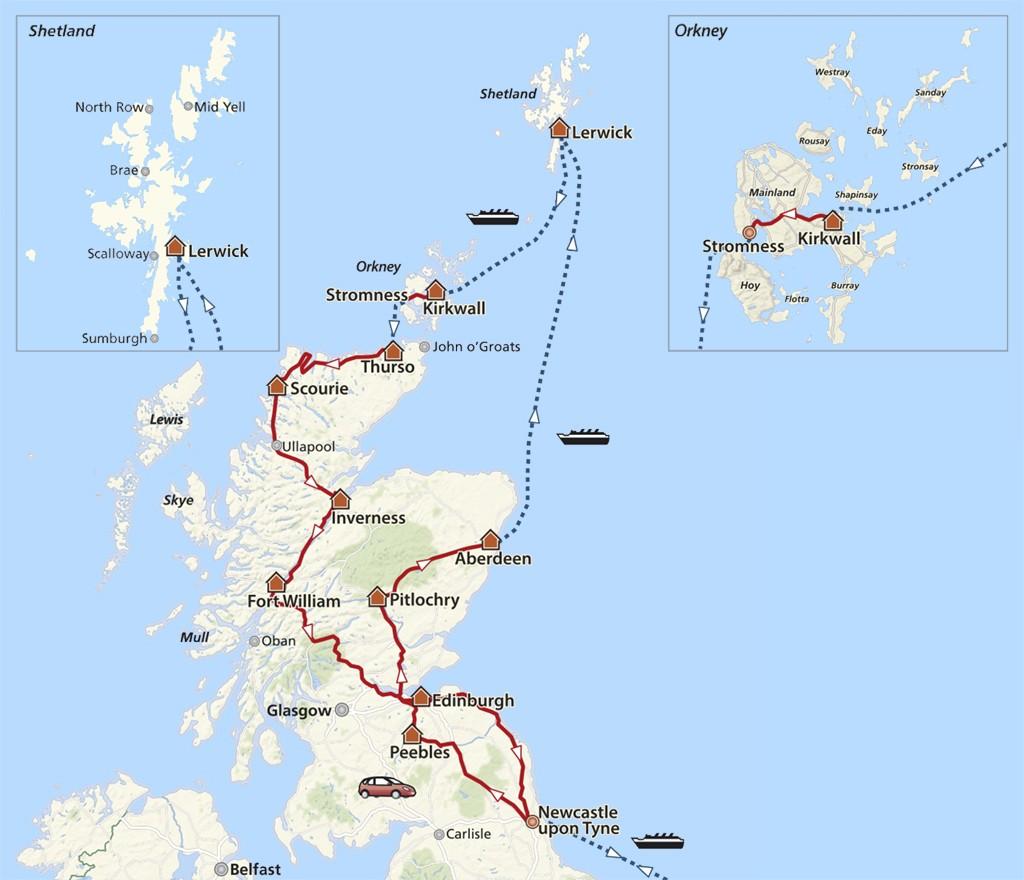 De route door Schotland