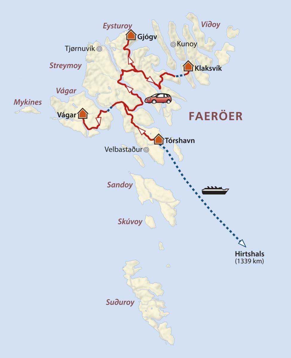 Jouw reisroute over de Faeroer