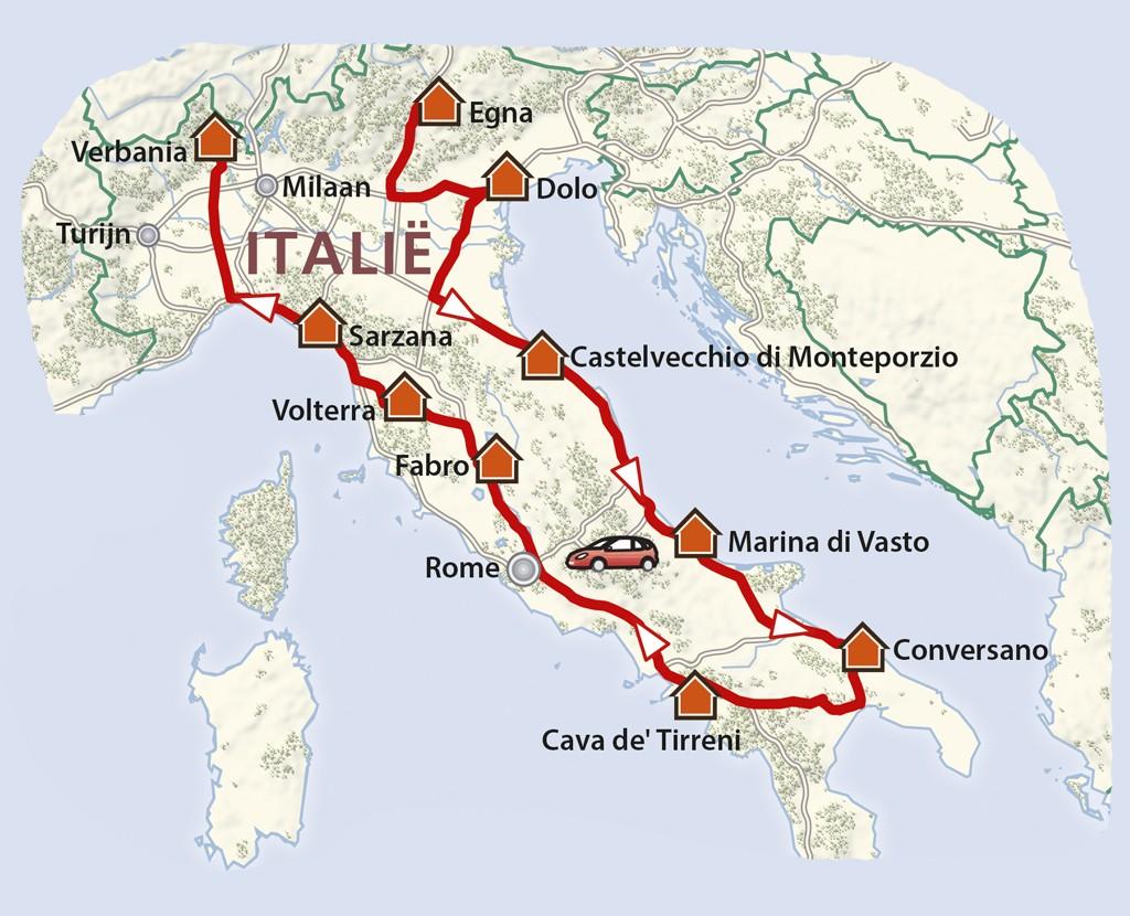 De Italiaanse route van noord naar zuid - Kaart: PHAROS REIZEN