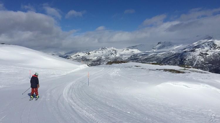 De vijf kilometer lange dalafdaling in Hemsedal Noorwegen