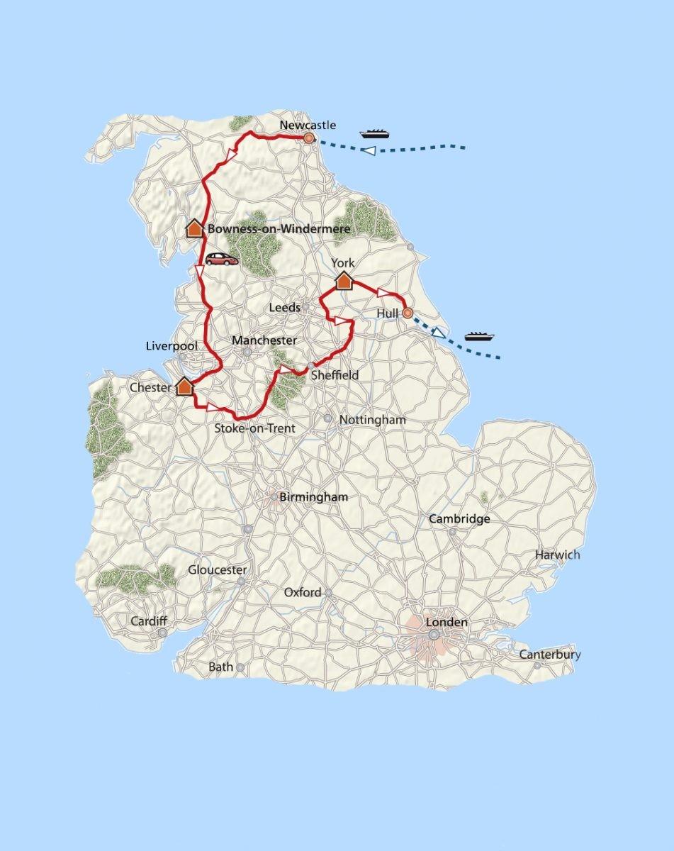 De route langs de iconen van Noord-Engeland. Kaart: PHAROS REIZEN