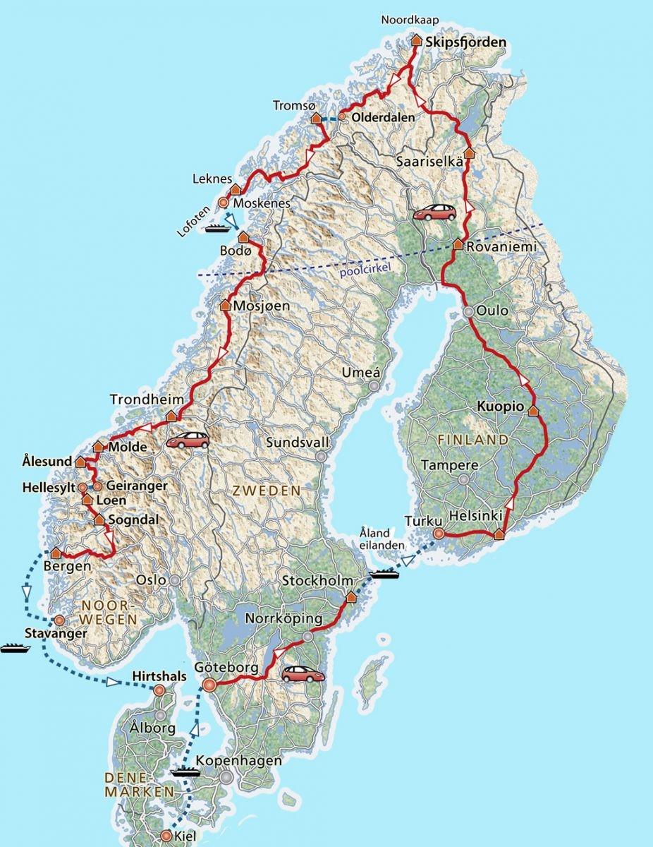 Route langs de Noordkaap en Lofoten. Kaart: PHAROS REIZEN