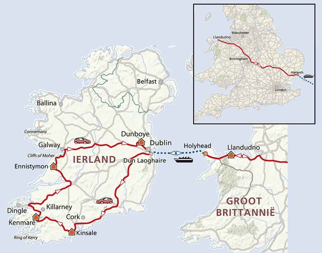 Jouw reisroute door Wales en Ierland. Kaart: PHAROS REIZEN