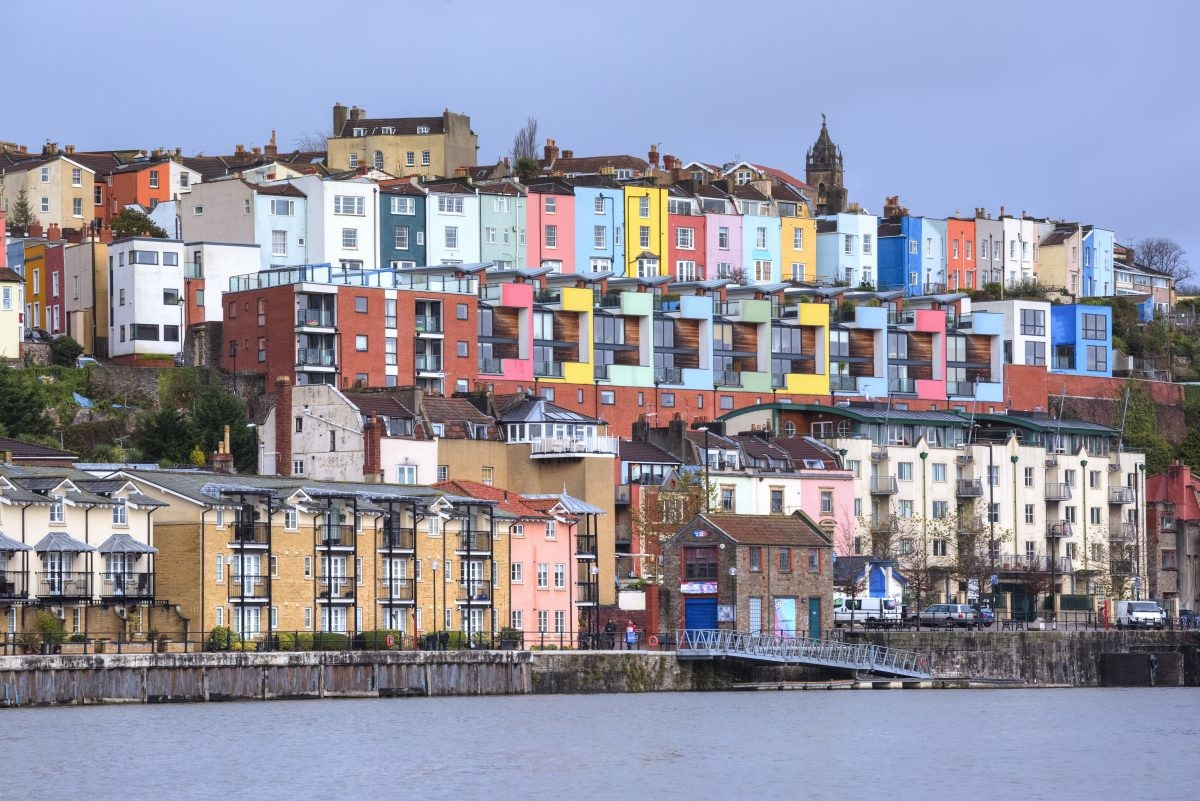 Gekleurde huizen, Clifton, Bristol. Fotocredit: www.greatwestway.co.uk
