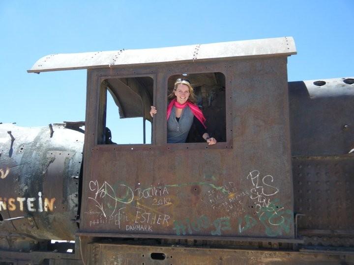 Mountainreporter Pauline in één van de treinen, die allemaal vrij toegankelijk zijn. Foto: Pauline van der Waal