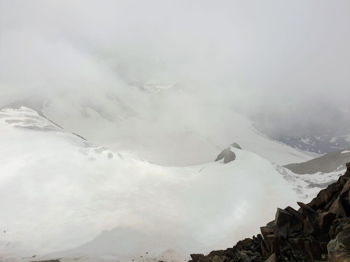 Een glimps van het uitzicht vanaf de Wildspitze.