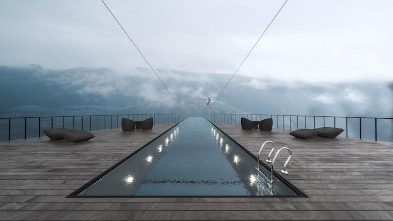 Zwembad boven de fjord.