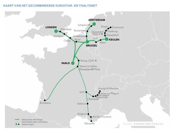 Kaart van de gecombineerde Thalys en Eurostar