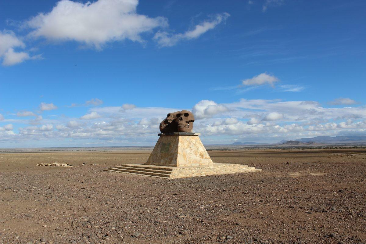 Op zoek naar het ontstaan van de mens, aangekondigd door deze twee schedels in the middle of nowhere. Foto: Pauline van der Waal