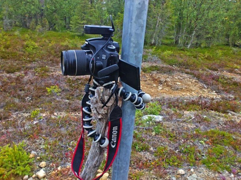 Mijn setup; camera met Gorillapod, afstand bediening en extra stok