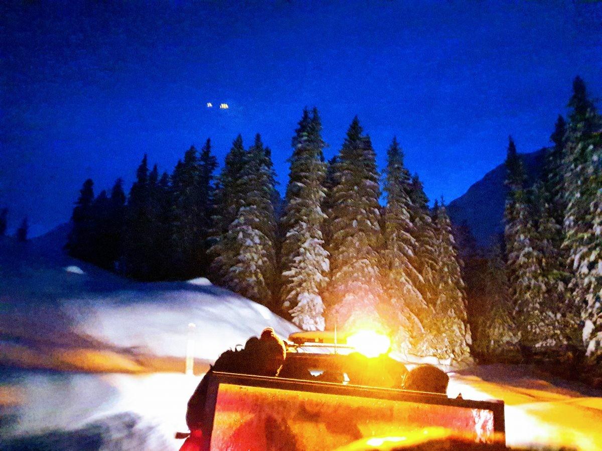 In de nacht door het witte wonderlandschap. Foto: Sietske Mensing