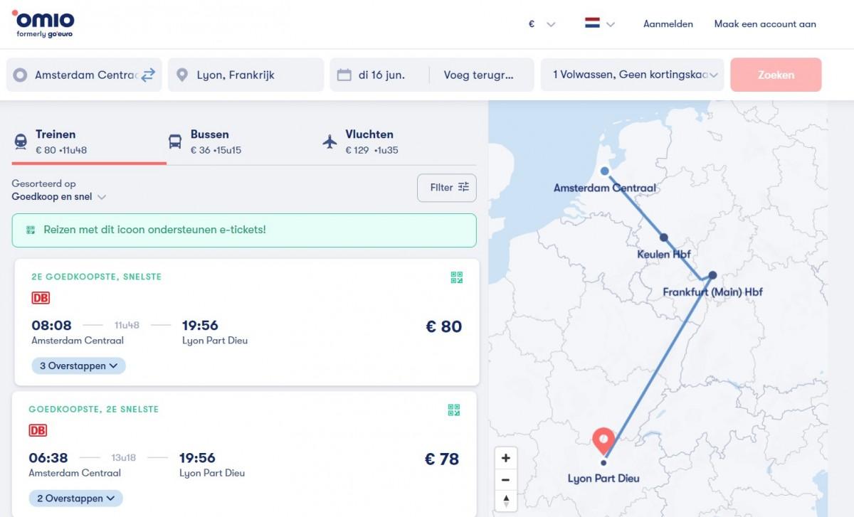 Voorbeeldreis van Amsterdam naar Lyon, met trein, bus of vliegtuig. Afbeelding: screenshot Omio.nl