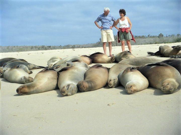 Nou, ze zijn in ieder geval niet bang op de Galapagos... Foto: Pauline van der Waal