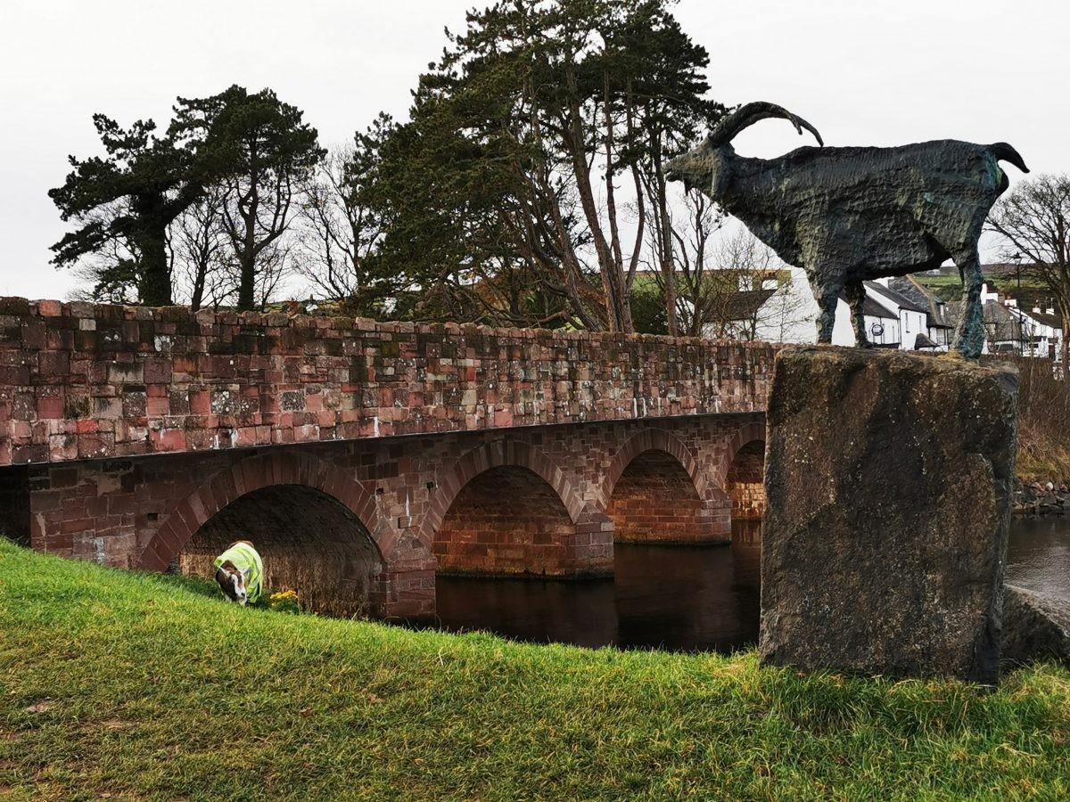 Een geit en zijn standbeeld