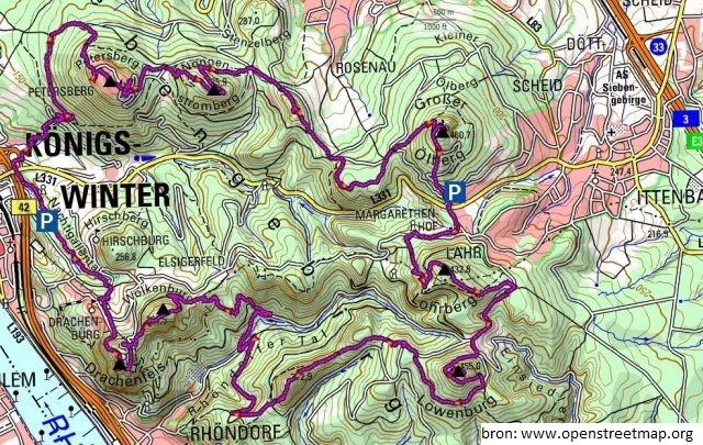 Routekaart over de Zeven bergen in het Zevengebergte