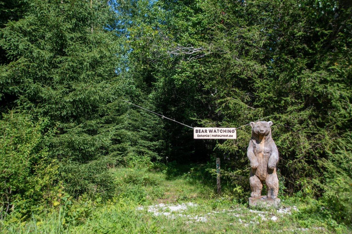 De ingang en verzamelplek in Sirtsi Nationale Park, Estland