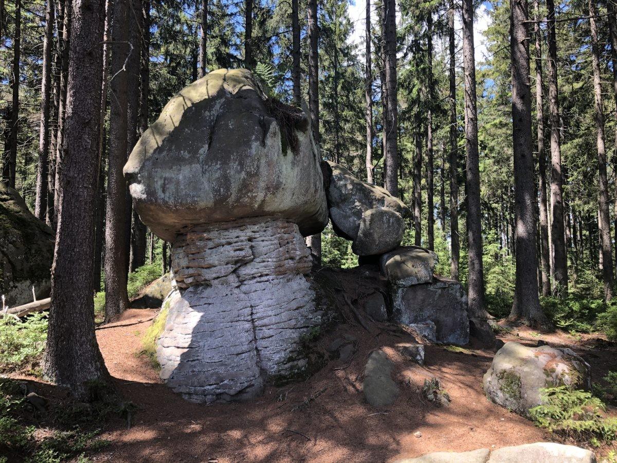 Opmerkelijke rotsformaties in het Stolowe Mountains National Park