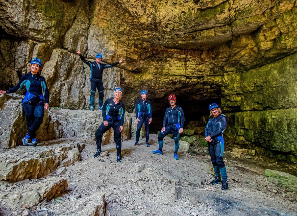 Voor de ingang van de Falkensteiner Höhle