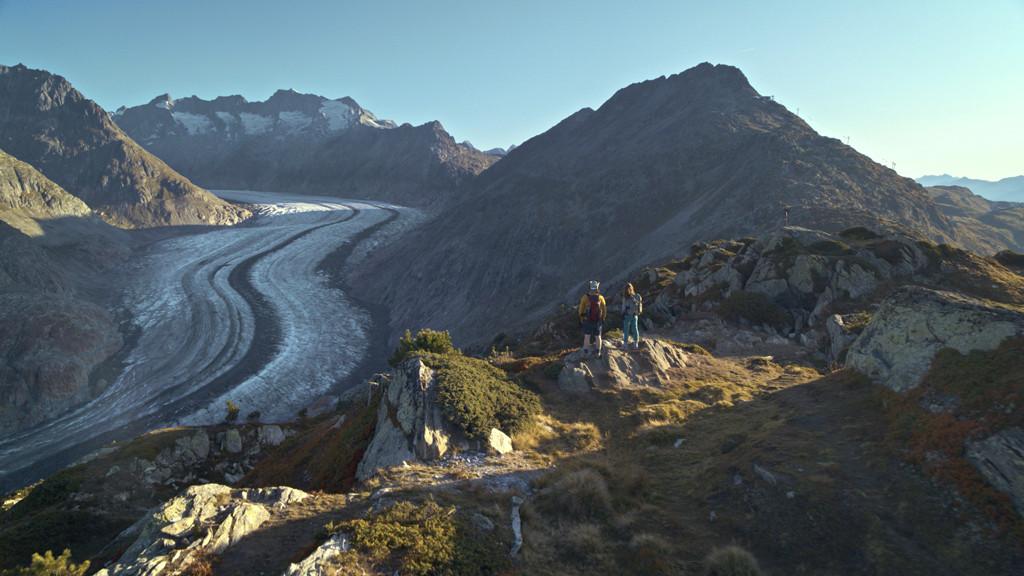 Uitzicht op de Aletschgletsjer. Copyright: Zwitserland Toerisme/Frederic Huber